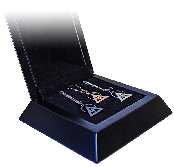Trifecta Elite with Gold, Silver Rhodium, and Black Illuminati Talismans
